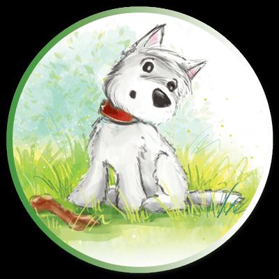 Uroczy, mały piesek – najlepszy przyjaciel Misi, który zawsze wspiera ją w niesieniu pomocy zwierzętom.